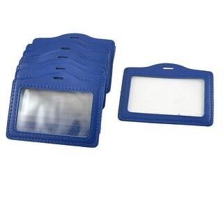 Unique Bargains Unique Bargains 10PCS Office Company Blue Faux Leather Horizontal Staff Name Badge ID Holder