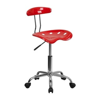 Offex Vibrant Cherry Tomato and Chrome Computer Task Chair with Tractor Seat [OF-LF-214-CHERRYTOMATO-GG]