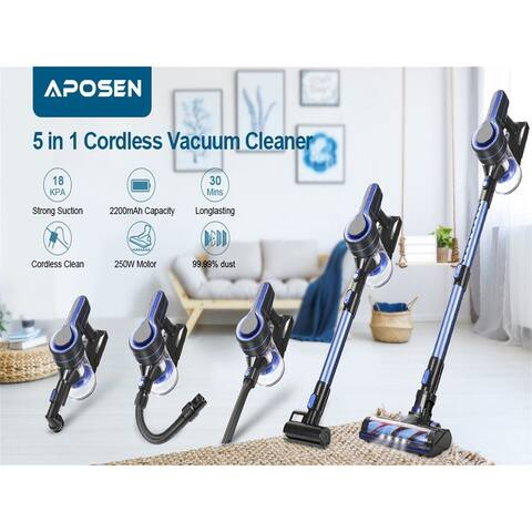 Cordless Vacuum Cleaner,Upgraded 24000pa Stick Vacuum 5 in 1 with 250W Powerful Brushless Motor, Detachable Battery H251