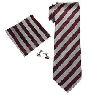 Men's Burgundy Grey Stripes 100% Silk Neck Tie Set Neck tie+Hanky+Cufflinks