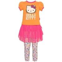 Hello Kitty Baby Girls Orange Skirted Tunic Stretchy 2 Pc Legging Set