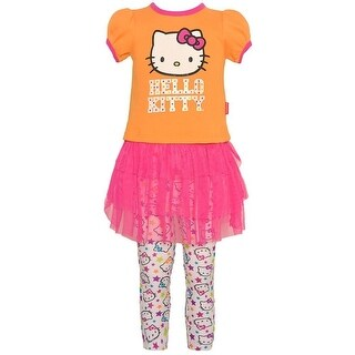 Hello Kitty Baby Girls Orange Skirted Tunic Stretchy 2 Pc Legging Set