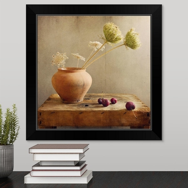 """""""Wild flowers with cherries on table."""" Black Framed Print"""