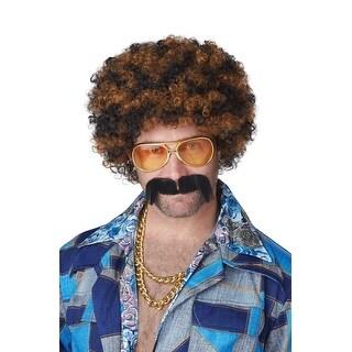 California Costumes Disco Dirt Bag Wig & Moustache (Blonde/Brown) - blonde/brown