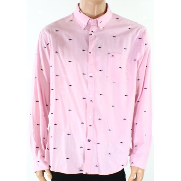 98c3dc62 Shop Tommy Hilfiger NEW Pink Mens Size XL Dolphin-Embroidered Dress Shirt -  Free Shipping On Orders Over $45 - Overstock - 19841457