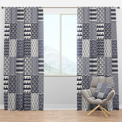 Designart 'Japanese Ocean Wave Pattern' Costal Blackout Curtain Panel