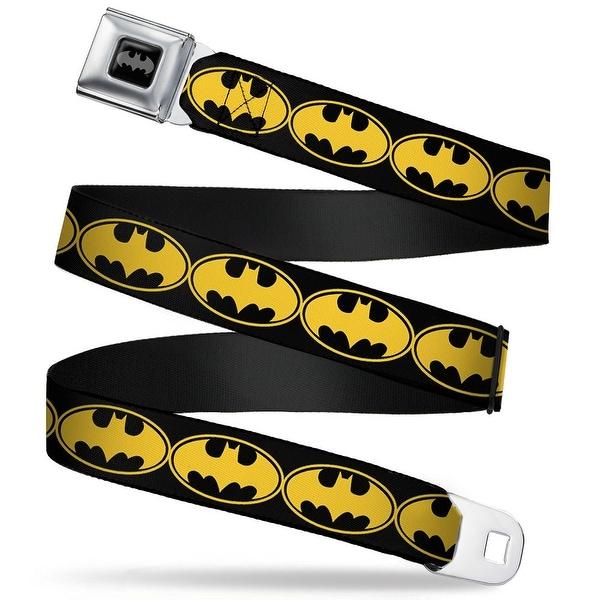 Batman Black Silver Bat Signal 3 Black Fluorescent Yellow Black Webbing Seatbelt Belt
