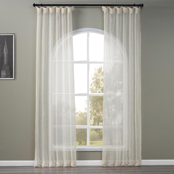 Exclusive Fabrics Linen Open Weave Cream Sheer Curtain Panel. Opens flyout.