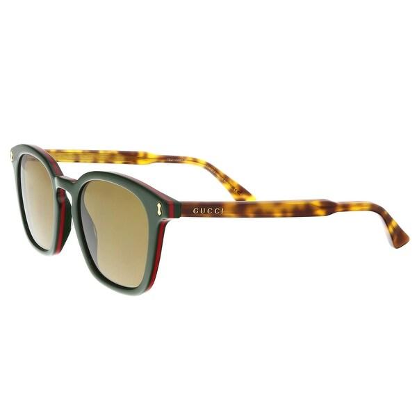 11a2b8f598 Shop Gucci GG0125S 005 Green Square Sunglasses - 49-20-145 - Free ...
