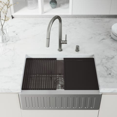 VIGO Slotted Stainless Steel Farmhouse Kitchen Sink with Accessories