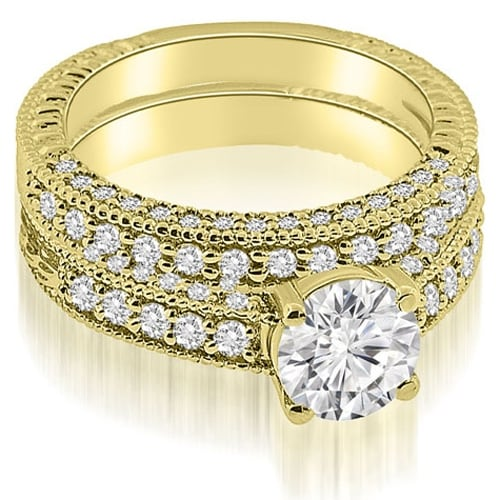 1.88 cttw. 14K Yellow Gold Antique Milgrain Round Cut Diamond Bridal Set
