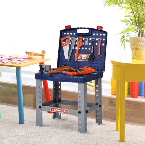 Qaba 68 Pcs Kids Pretend Series Workbench Toy Tool Play Set with Realistic Tools and Electric Drill Educational Gift