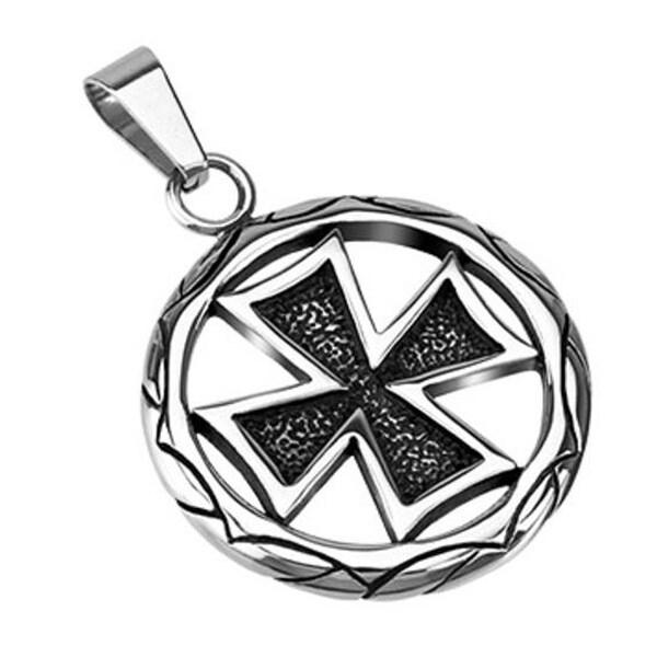 Stainless Steel Celtic Cross Medallion Pendant (30 mm Width)