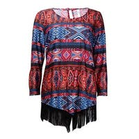 NY Collection Women's Fringed-Hem Tribal Print Jersey Top - Red Multi