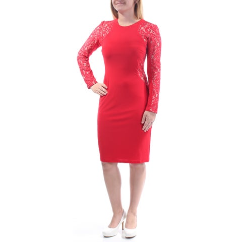 Womens Red Long Sleeve Knee Length Wear To Work Dress Size: 12