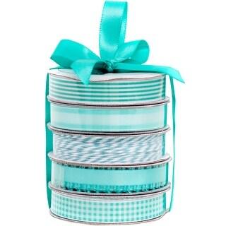 American Crafts Premium Ribbon & Twine 5-Packs-Spring Teal