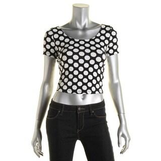 Material Girl Womens Juniors Crop Top Polka Dot Short Sleeves