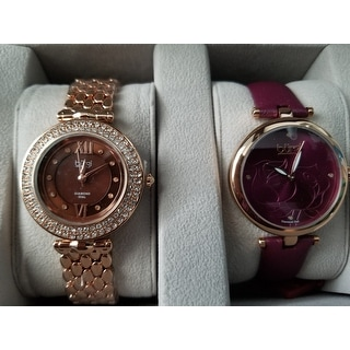 Burgi Women's Colorful Leather Rose-Tone Strap Alloy Bracelet 2-Piece Watch Set - Purple
