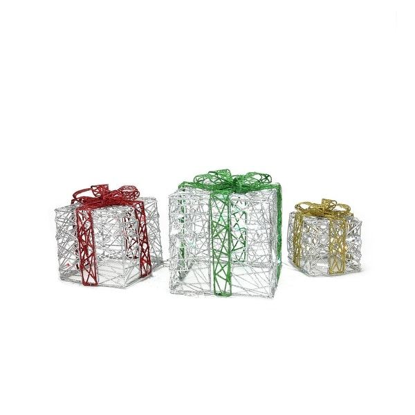 Set of 3 LED Lighted Sparkling Spun Silver Gift Boxes Christmas Outdoor Decorations