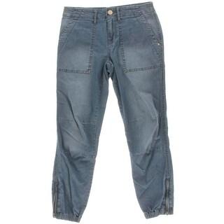 Sanctuary Womens Peace Trooper Zipper-Convertible Flap Pocket Cropped Jeans