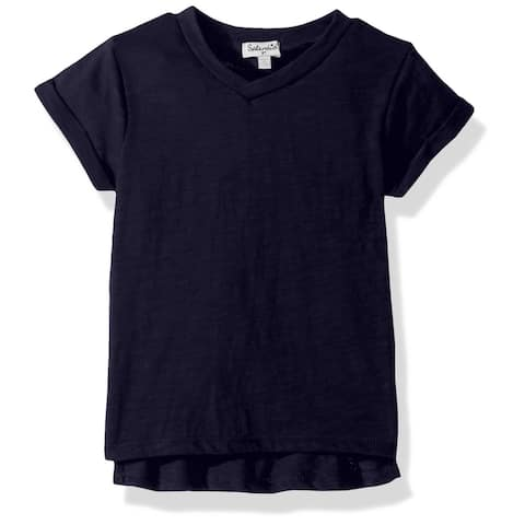 Splendid Girls T-Shirts Navy Blue Size 10 V-Neck Slub-Knit Short-Sleeve 097