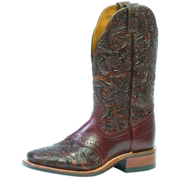 Boulet Western Boots Womens Cowboy Leather Dankan Brown Chestnut