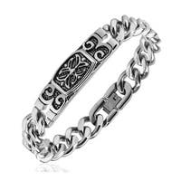 Stainless Steel Chain Bracelet with Celtic Cross Engraved Plate  (12.7 mm) - 8.75 in