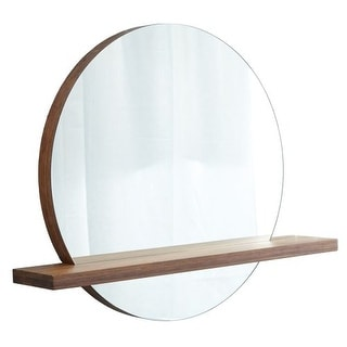 "Native Trails MC222 Renewal Solace Circular 25""H x 22""W Flat Bamboo Mirror with Shelf"