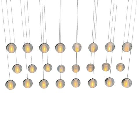 Orion 24 Light Rectangular Floating Glass Globe LED Chandelier, Brass