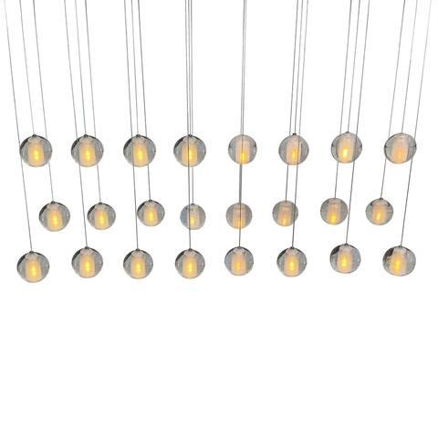 Orion 24 Light Rectangular Floating Glass Globe LED Chandelier, Chrome