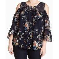 Lucky Brand Blue Womens Size 2X Plus Cold Shoulder Floral Blouse