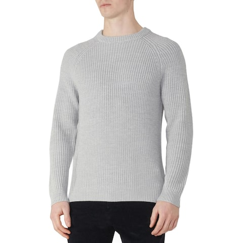 Hardy Amies Heavy Gauge Ribbed Wool & Cashmere Crewneck Sweater S Grey Jumper