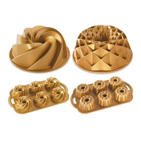 Nordic Ware Bundtlette Cakes and Bundt Pans Bakeware Set (Gold)
