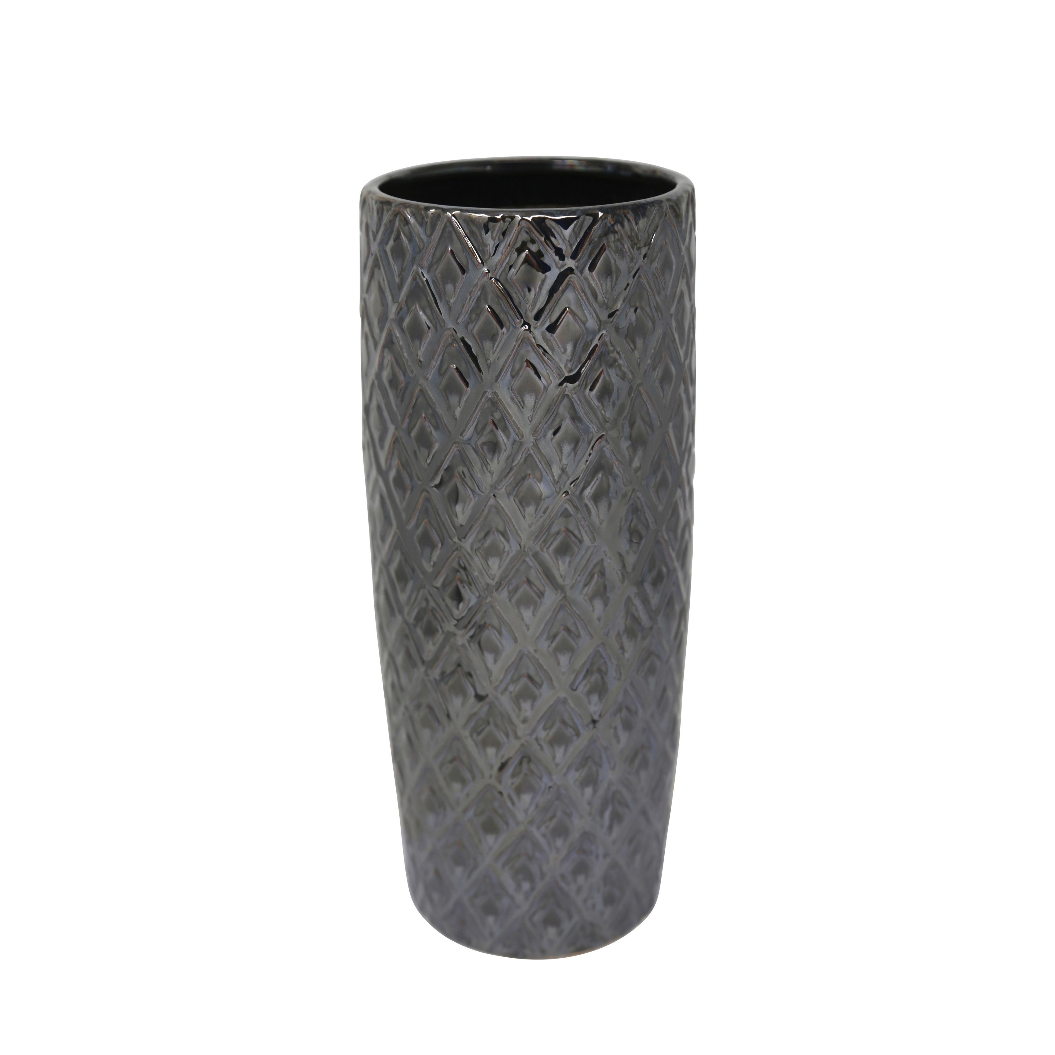 Ceramic Tapered Table Vase with Embossed Diamond Design, Black