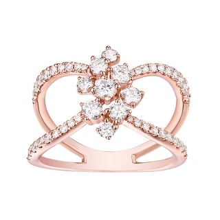 Beautuful 0.95 TCW Round Brilliant Cut G-H/SI1 Natural Diamond Stylist Ring - White G-H