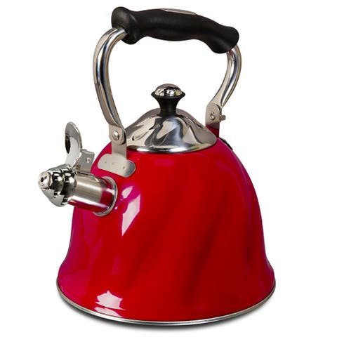 Alderton 2.3 Qt. Tea Kettle with Lid in Stainless Steel Red - 8' x 10'