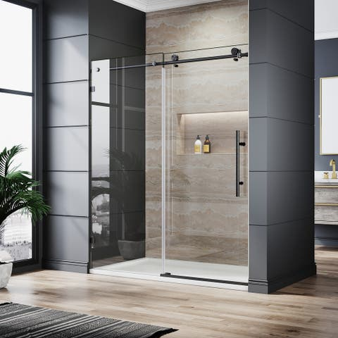 ELEGANT Frameless Sliding Shower Door Black Finish