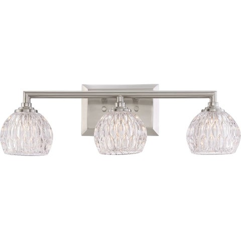 """Platinum PCSA8603LED Serena 3 Light 20"""" Wide Bathroom Vanity Light with Glass Bell Shades - Brushed nickel"""