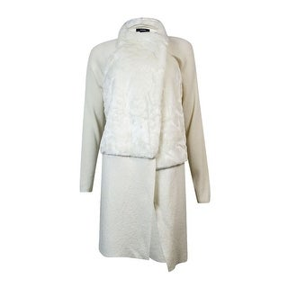 Alfani Women's Merino Wool Faux Fur Long Coat (L, Cloud) - Cloud