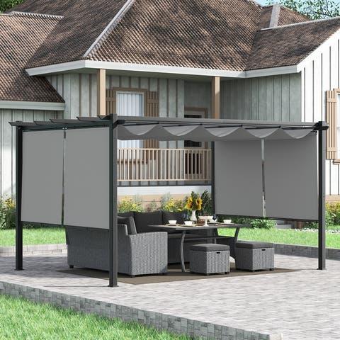 Corvus Vern 10x13 FT Aluminum Retractable Patio Canopy Pergola