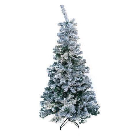 ALEKO Artificial Holidays Flocked Pre Lit 6 ft Christmas Tree