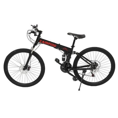 """Campingsurvivals Folding 21 Speed 24"""" Riding Mountain Bike,Black - 24in"""