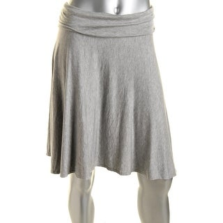 Studio M Womens Heathered Fold-Over A-Line Skirt