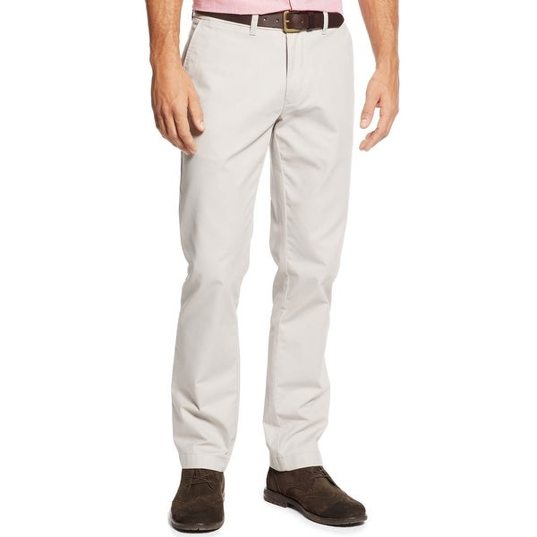 Tommy Hilfiger Custom Fit Flat Front Chinos Pants Silver Matte