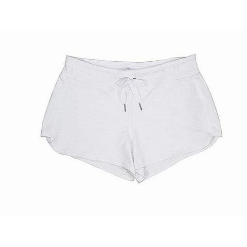 Calvin Klein Women's Shorts White Size Large L Pull On Drawstring Knit