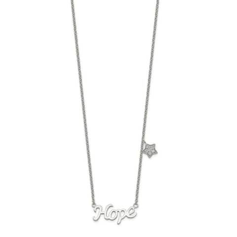 Sterling Silver Polished Cubic Zirconia HOPE with Star Necklace by Versil