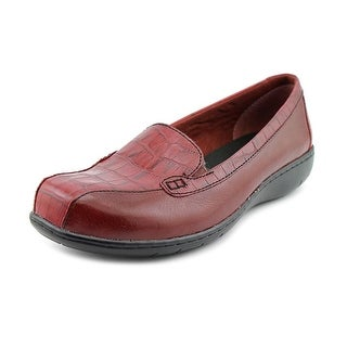 Clarks Bayou Women W Square Toe Leather Burgundy Loafer