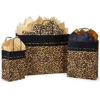 "Pack Of 125, Assortment Leopard Safari Recycled Kraft Paper Shopping Bag 50 Rose (5.25"" x 3.5"" x 8.25""), 50 Cub & 25 Vogue"