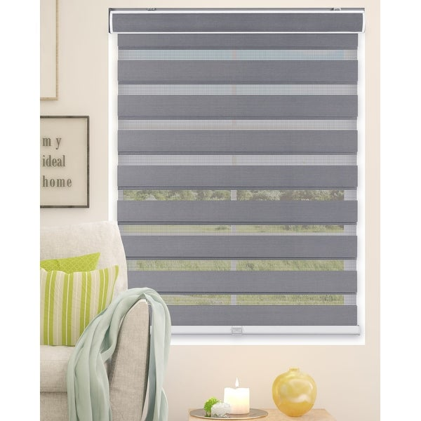Arlo Blinds Grey Cordless Zebra Roller, Striped, Sheer or Privacy Shade. Opens flyout.