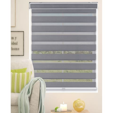 Arlo Blinds Grey Cordless Zebra Roller, Striped, Sheer or Privacy Shade